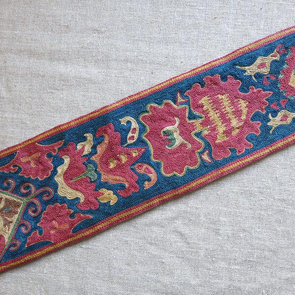UZBEKISTAN - SHEHRISABZ LAKAI ethnic silk embroidered pigtail