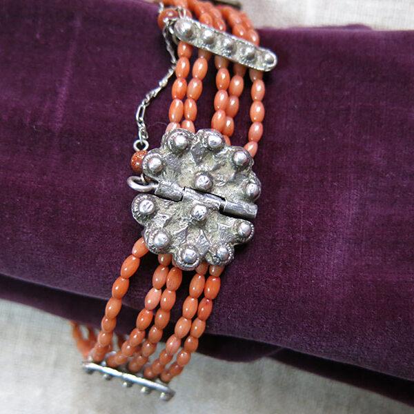 UZBEKISTAN - BOKHARA ethnic silver - coral bracelet