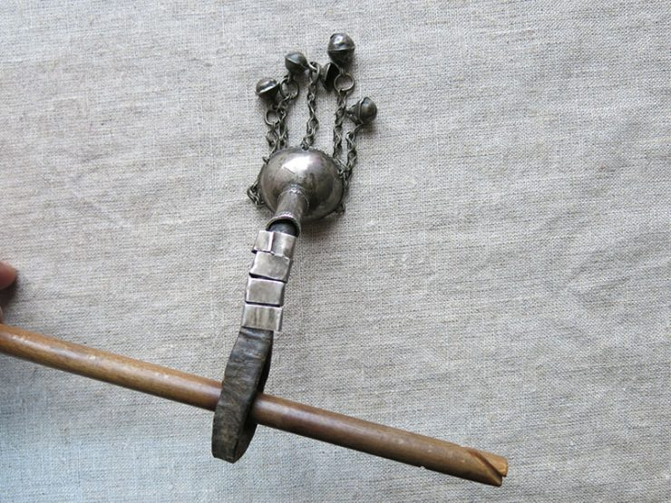TURKMENISTAN – MARY, antique tribal silver drop spindle