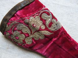 ANATOLIAN OTTOMAN antique velvet sewing scissors bag