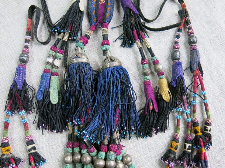 UZBEKISTAN Surkhandarya ethnic silk braided hair decoration tassels