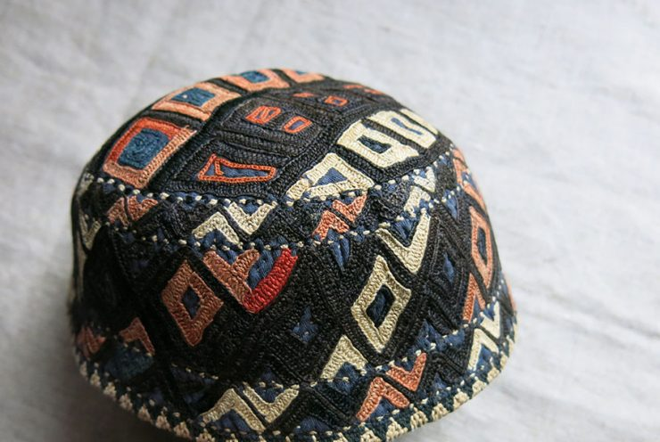 CENTRAL ASIA - TURKMENISTAN Yomud tribal silk embroidery hat