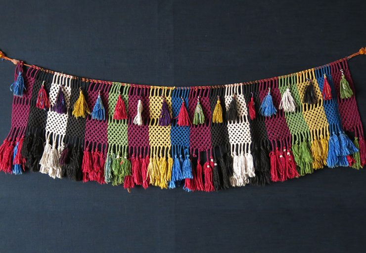 AFGHANISTAN LAKAI silk braided with tassels wall hanging