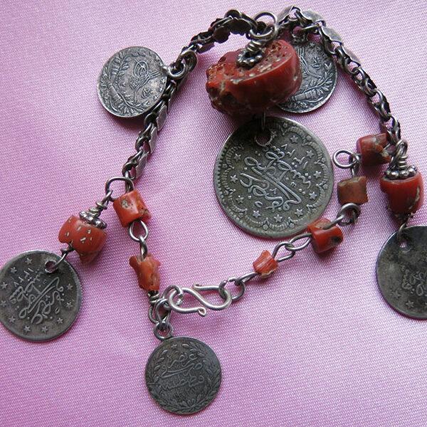 ANATOLIA - ISTANBUL Ottoman antique silver - coral bracelet
