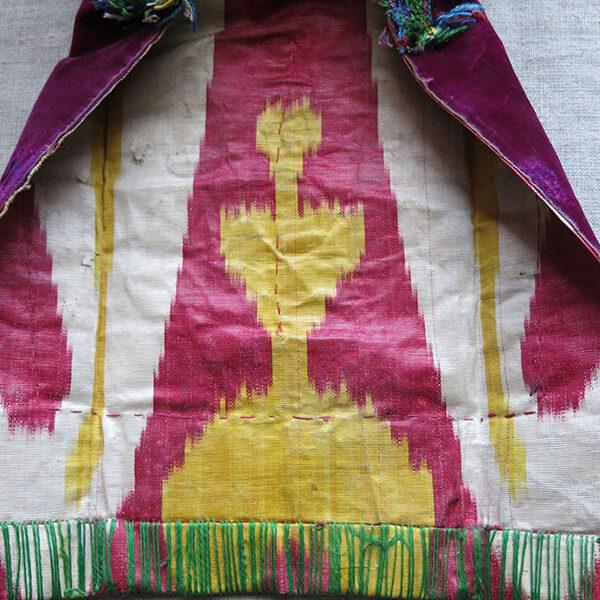 UZBEKISTAN BOKHARA Kultapush - tailed metallic embroidered velvet hat