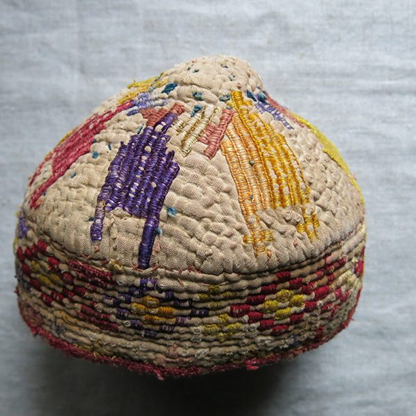 AFGHANISTAN - TURKMEN tribal quilted and silk embroidered hat