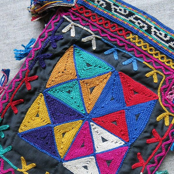 TAJIKISTAN - LAKAI tribal silk both side embroidered small bag