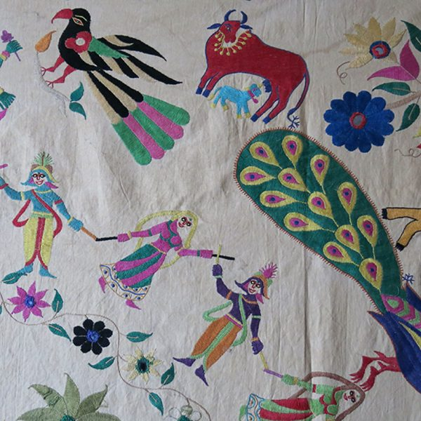 INDIA - GUJARAT KATHI Community everyday life wall hanging