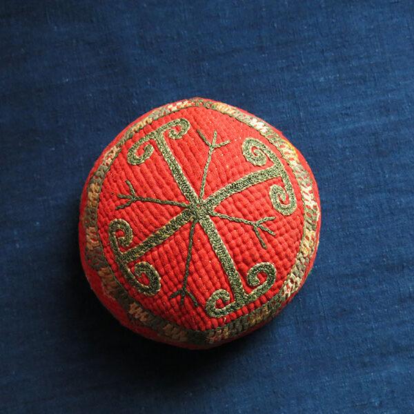 TURKMENISTAN CHODOR Turkmen child ethnic silk embroidered hat