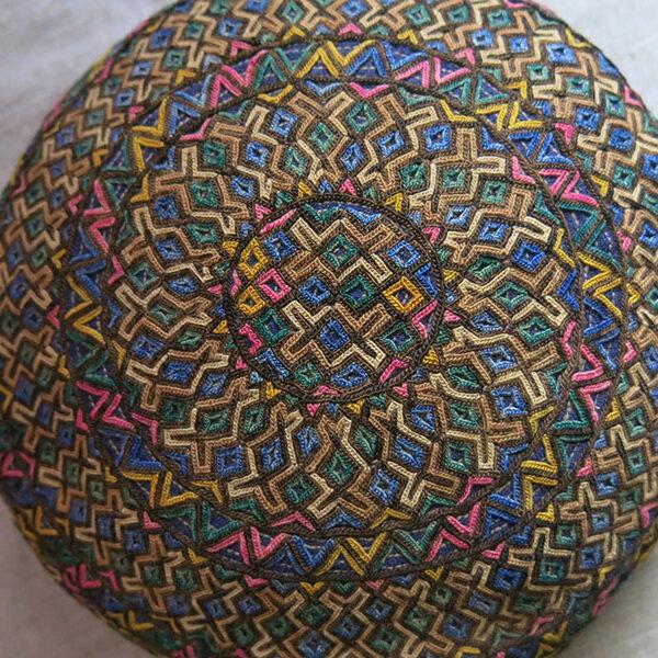 TURKMENISTAN - YOMUD tribal silk embroidered hat
