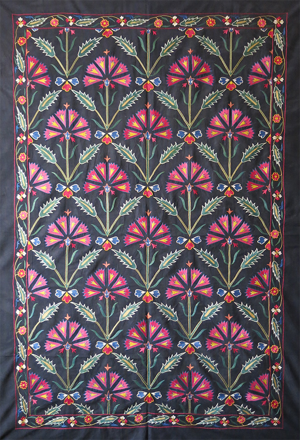UZBEKISTAN FARGANA Valley ethnic silk embroidered Suzani