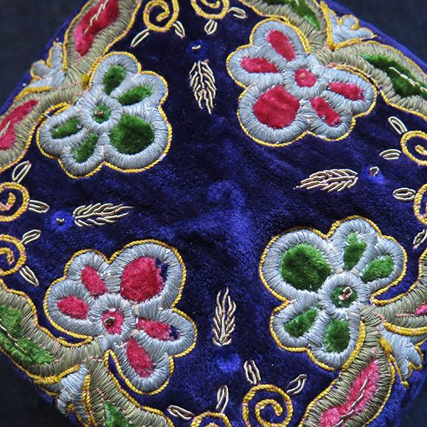 UZBEKISTAN – BOKHARA silk and metallic yarn embroidery on velvet hat