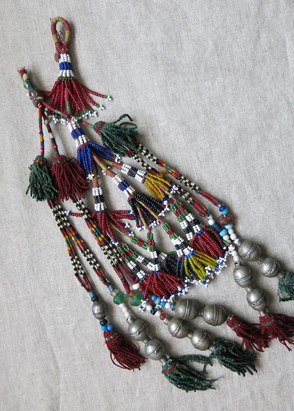 AFGHANISTAN - TURKMEN tribal two beaded silk - silver mixed tassels