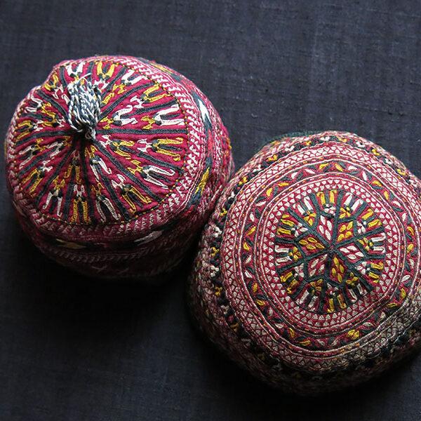 TURKMENISTAN TEKKE tribal child skullcaps / ceremonial hats