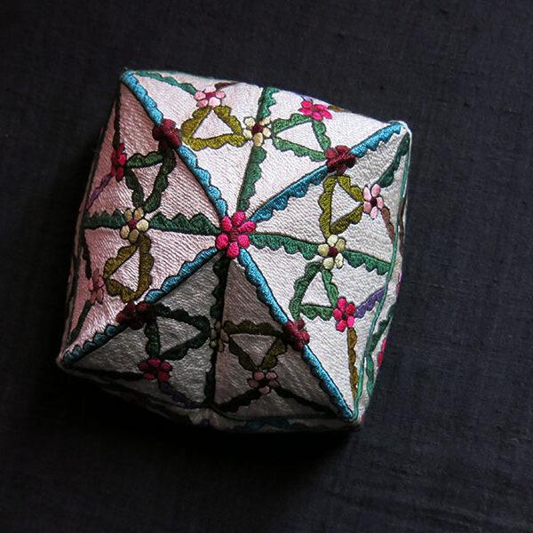 UZBEKISTAN - TASHKENT - Fargana Valley silk embroidered square folding hat