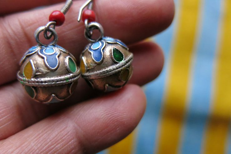 TURKMEN ethnic enameled silver ball shape earrings