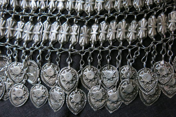 CENTRAL ASIA - TURKMENISTAN antique silver bridal headwear decoration