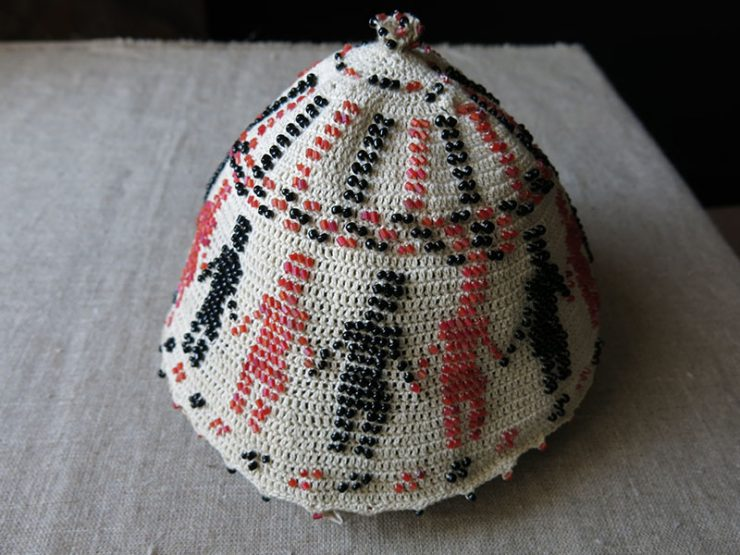 SYRIAN – DRUZE ceremonial glass beaded ceremonial hat