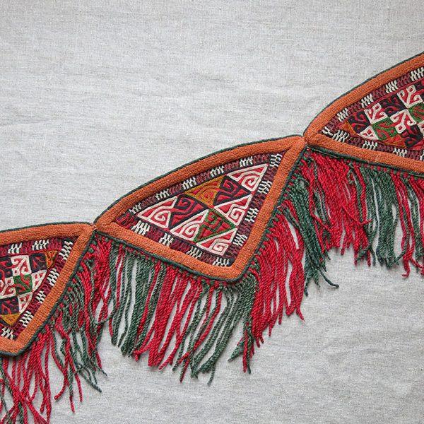 TURKMEN CHODOR tribal talismanic silk embroidery hanging