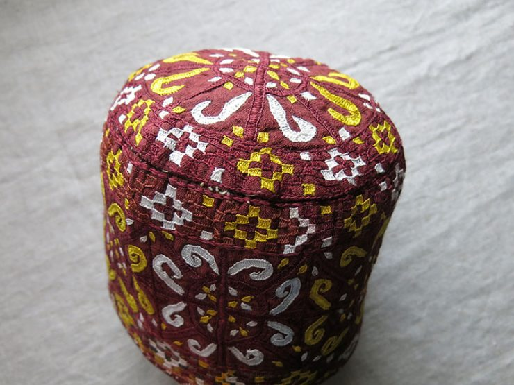 TURKMENISTAN - TEKKE tribal silk embroidered ceremonial hat