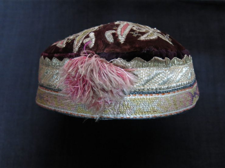 TAJIKISTAN - LAKAI ethnic glass beaded velvet hat