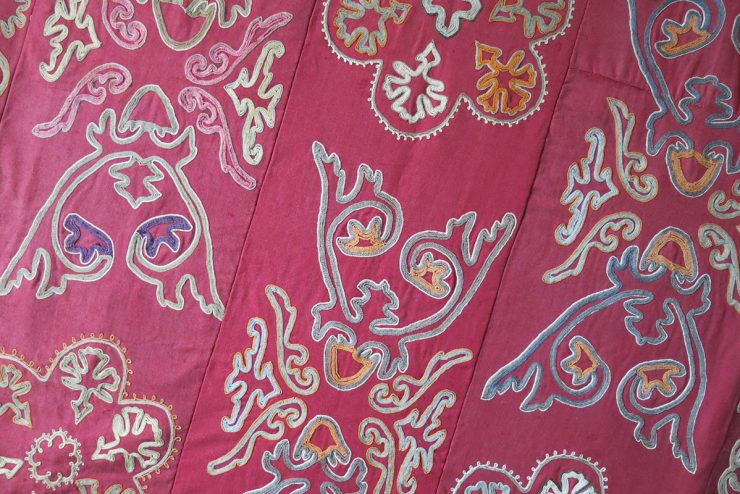 CENTRAL ASIA - KIRGIZSTAN - Tribal Silk embroidery wall hanging fragment