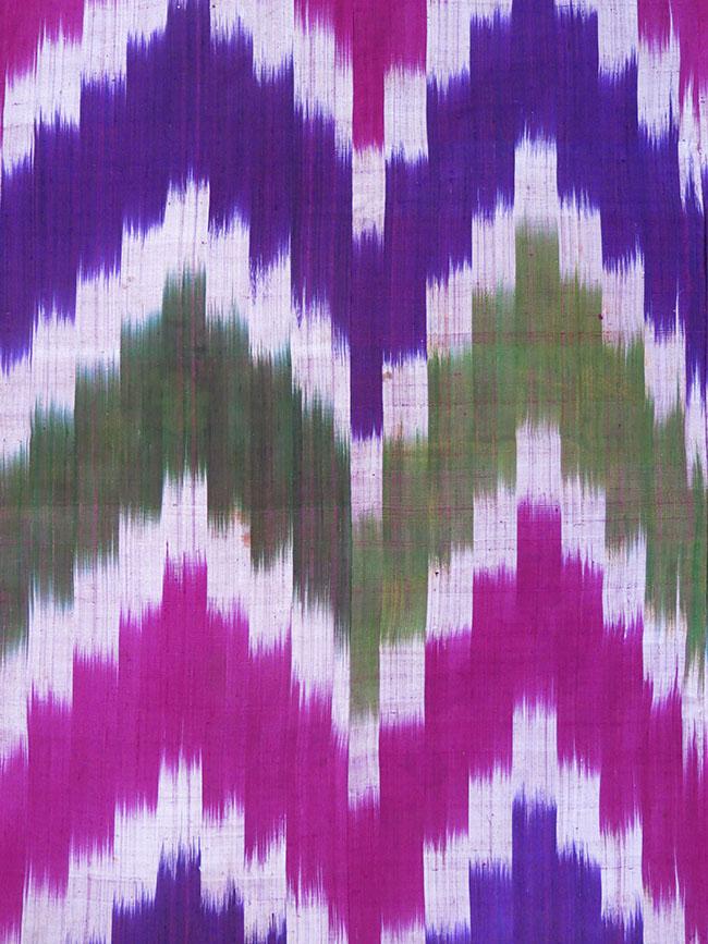 UZBEKISTAN – BOKHARA Chevron design silk Ikat hanging