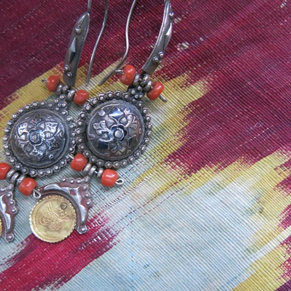 TURKEY - ISTANBUL - Constantinople Silver earrings with real Ottoman gold coins