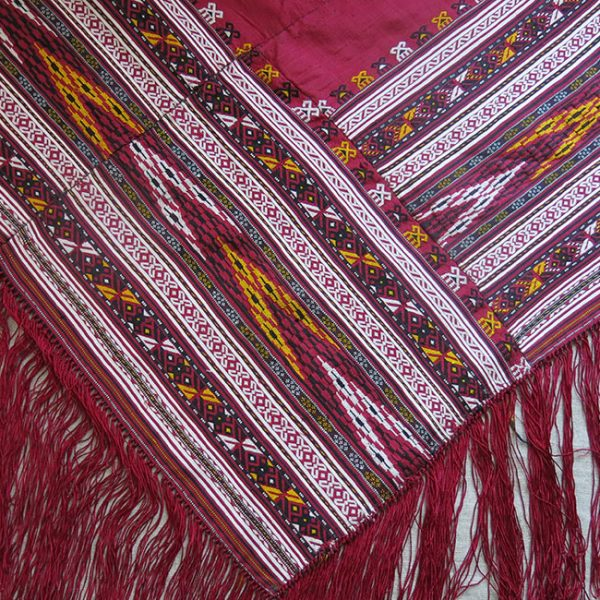 CENTRAL ASIA – TURKMENISTAN YOMUD tribal hand woven Silk Shawl