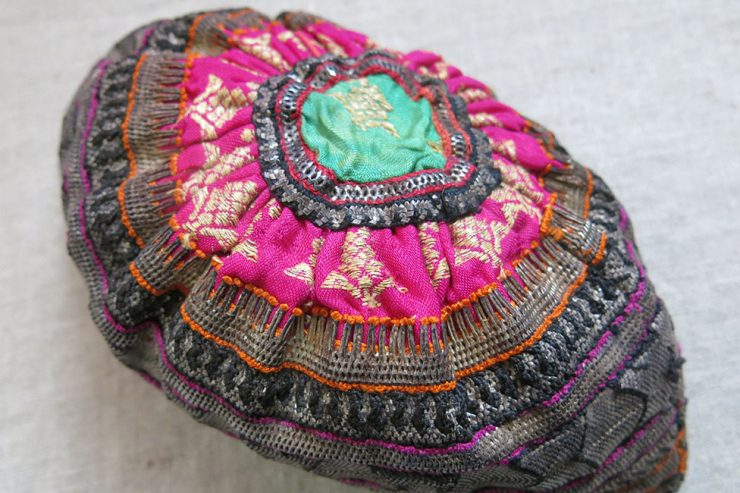IRAN –Southwest, QASHKAI tribal silver embroidered ceremonial hat