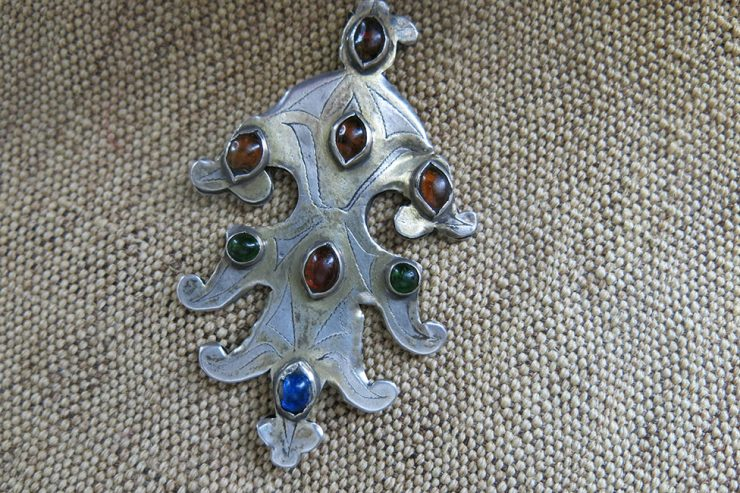TURKMENISTAN Antique gilded SILVER PENDANT