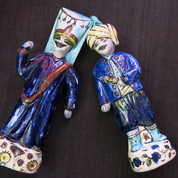 ANATOLIA KUTAHYA ceramic Ottoman Janissary standing figures