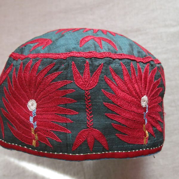 CENTRAL ASIA Tribal ARABACHI Turkmen ceremonial silk hat