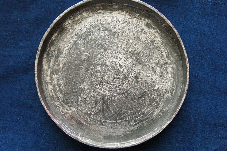 EASTERN TURKEY - ERZURUM hand forged tinned copper talisman plate