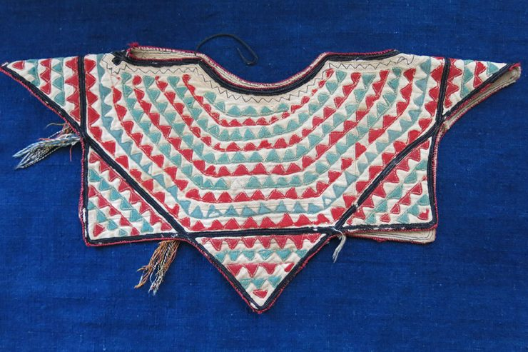 TURKMENISTAN YOMUD tribe child's over shirt patchwork collar