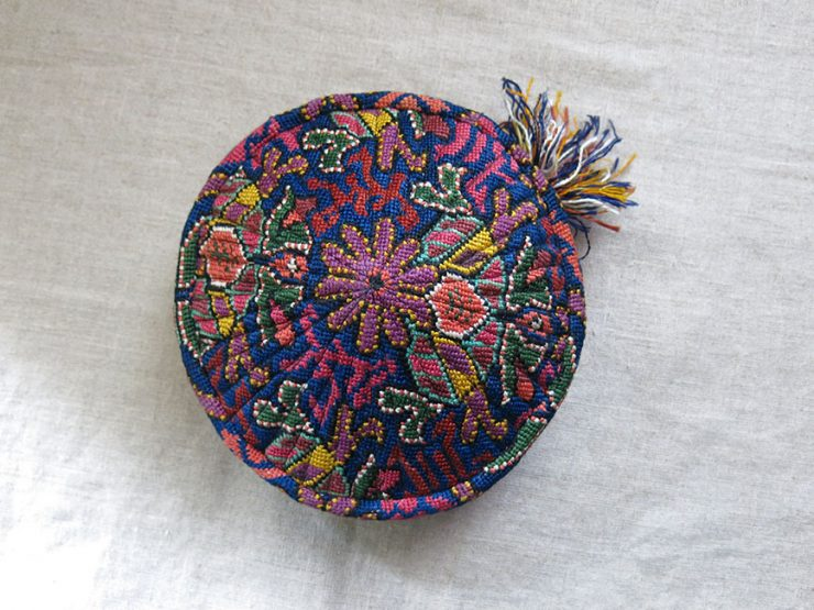 UZBEKISTAN - LAKAI tribal woman's silk embroidered hat