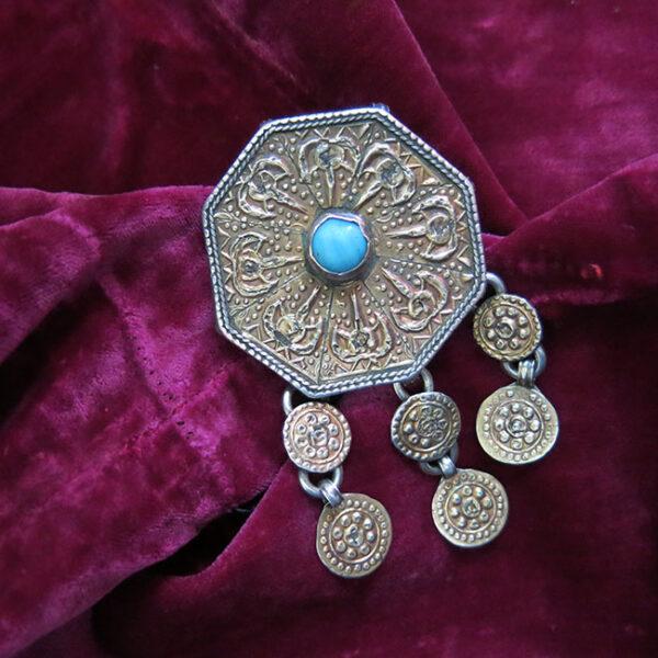 TURKMENISTAN - GULYAKA tribal gilded silver pendant