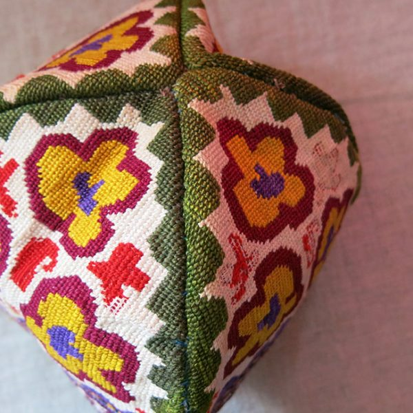 Uzbekistan - Shahri Sabz, LAKAI Iroqi / cross stitch silk embroidered tribal folding hat