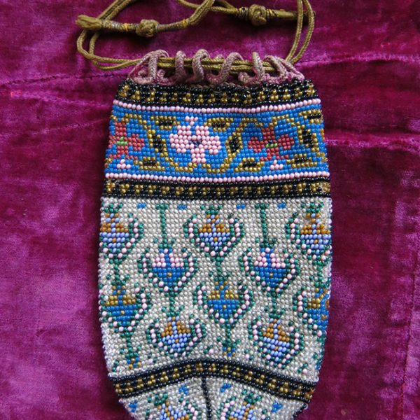 IRAN QAJAR DYNASTY - Very finely beaded small Pouch