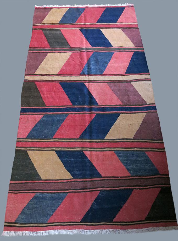 CAUCASUS - SHAHSAVAN tribal wool on cotton minimalist kilim
