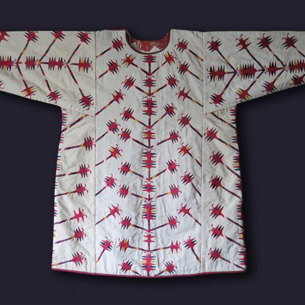 TURKMENISTAN TEKKE Turkmen tribal silk embroidered shirt