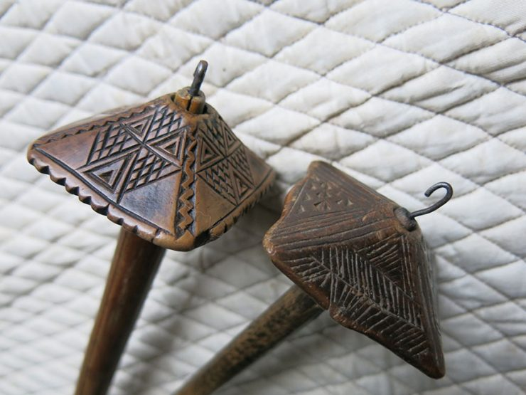 ANATOLIAN CAPPADOCIA TURKMEN pair of hand carved drop spindles