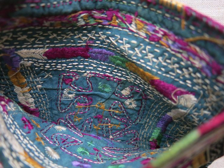 AZERBAIJAN Antique Tribal double side silk embroidered bag