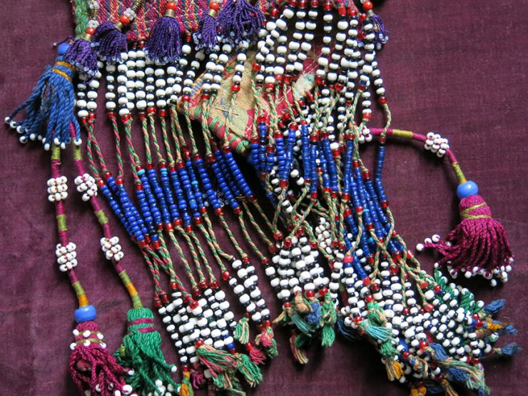 AFGHANISTAN – Turkmen glass beaded and silk tassels decoration