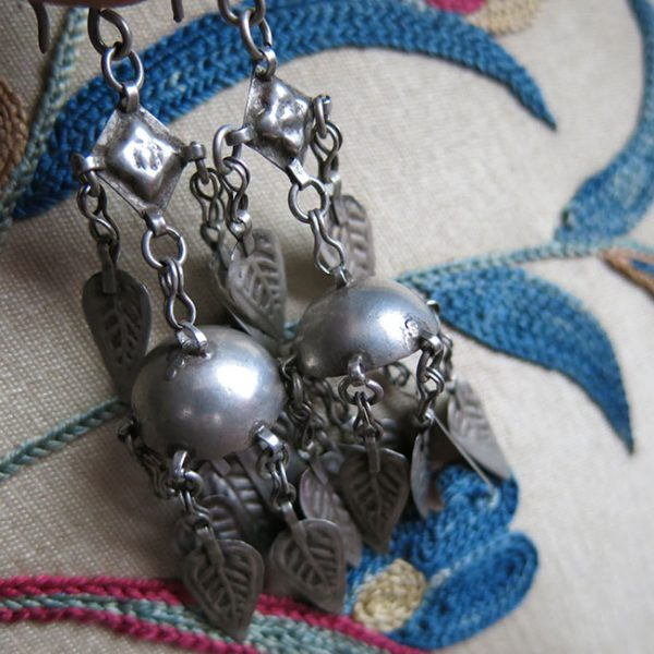 AFGHANISTAN TURKMEN Tribal silver earrings