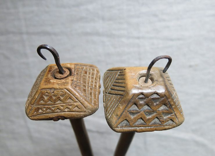 ANATOLIAN – Cappadocia Turkmen hand carved wooden drop spindles