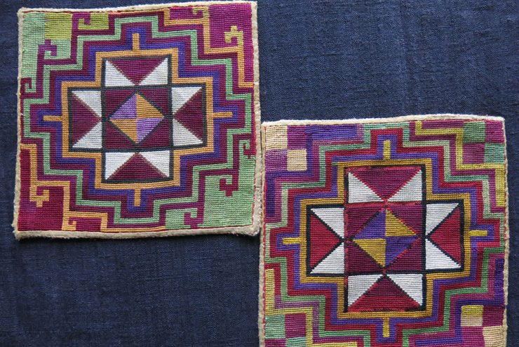 TAJIKISTAN LAKAI small silk embroidered pair of mats