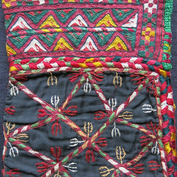 "AFGHANISTAN Turkmen Chodor silk embroidered ""pul khalta"" – coin bag"