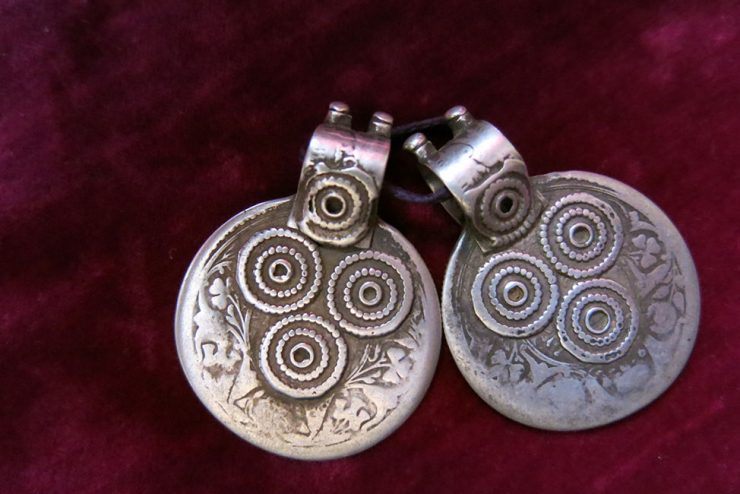 SOUTH UZBEKISTAN - Silver tribal pair of pendant