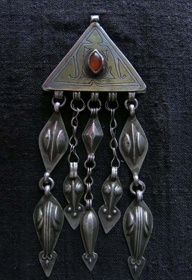 TURKMENISTAN - YOMUD Turkmen ethnic gilded silver decoration